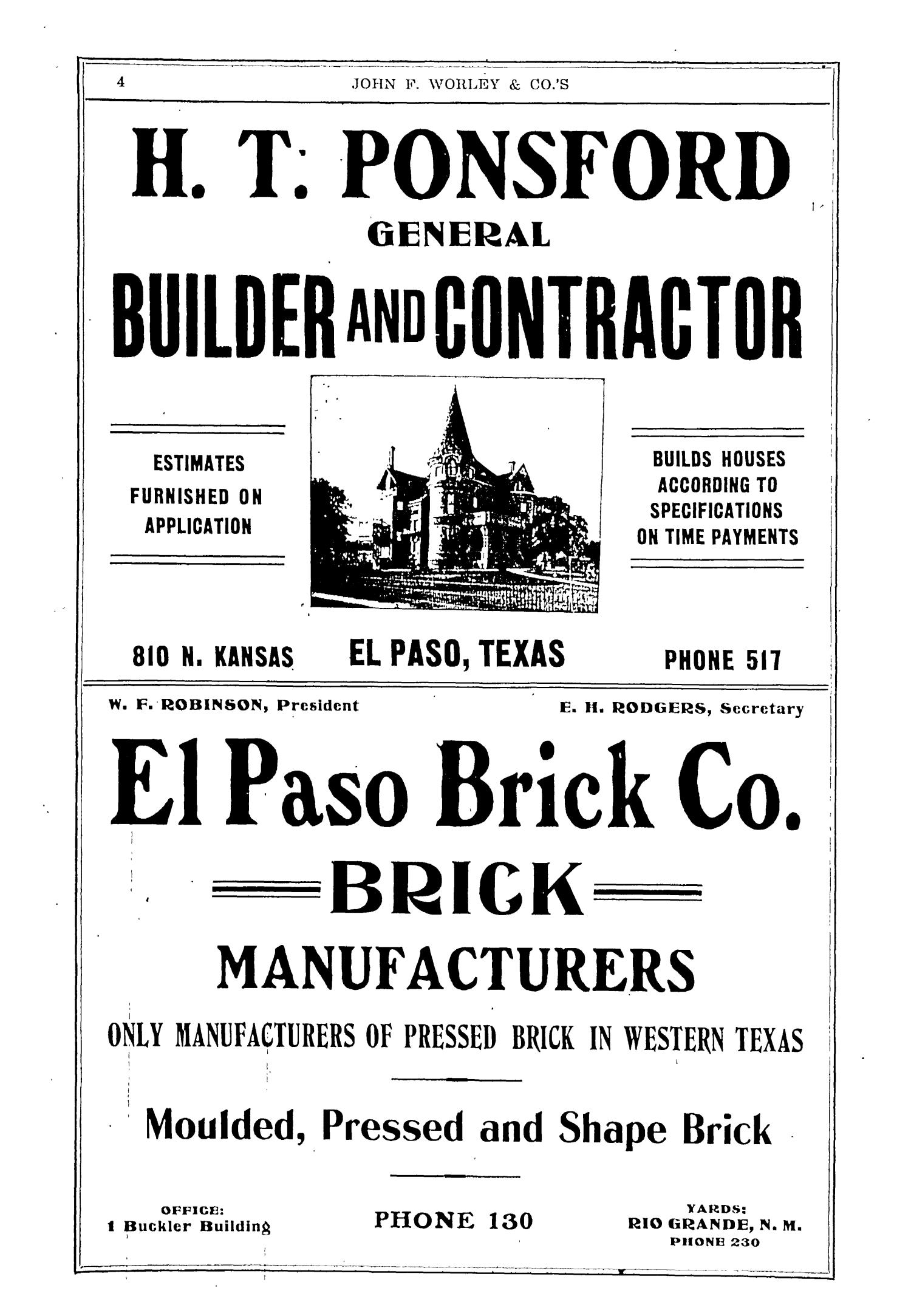 John F. Worley & Co.'s El Paso Directory for 1906                                                                                                      4