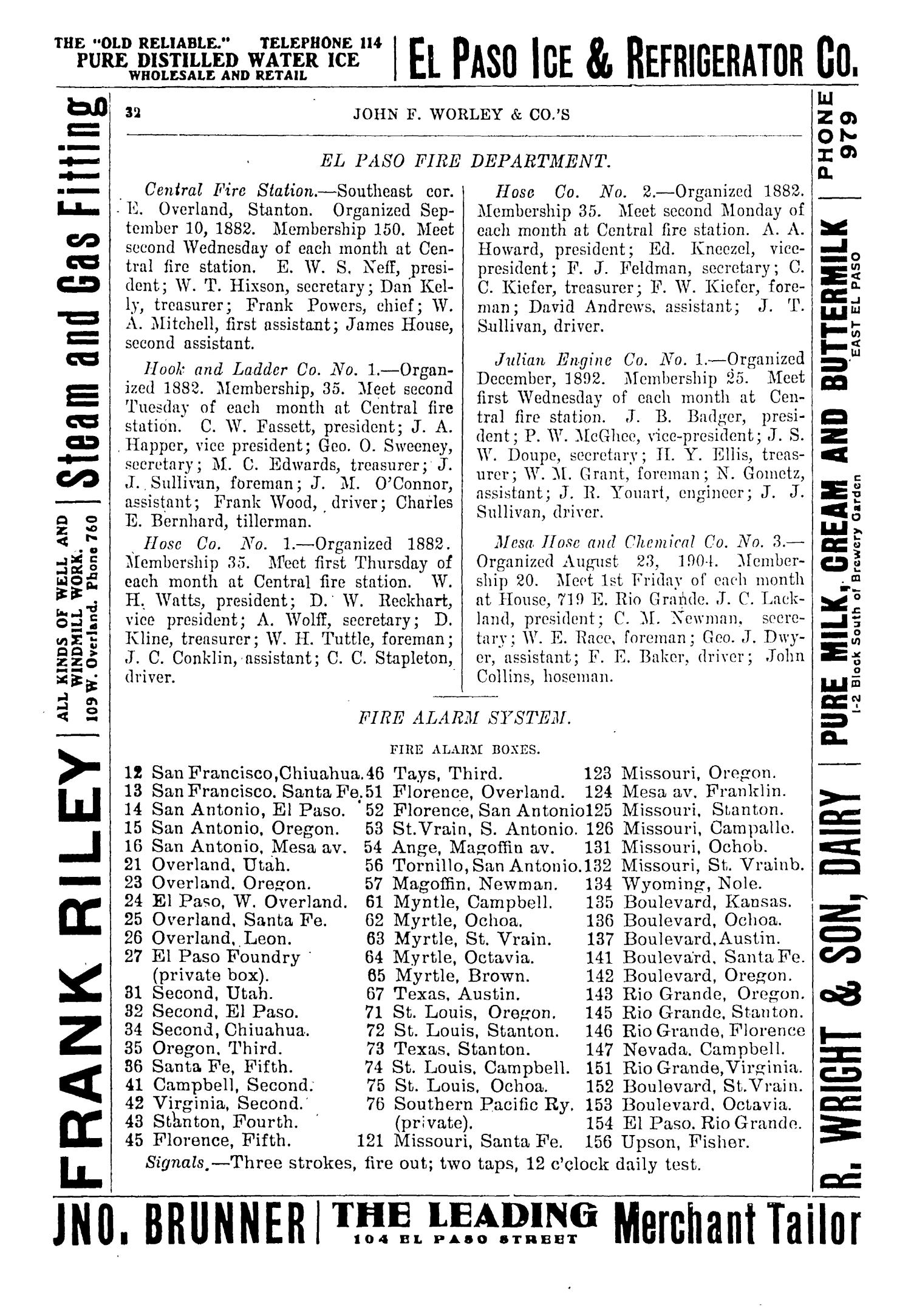 John F. Worley & Co.'s El Paso Directory for 1906                                                                                                      32