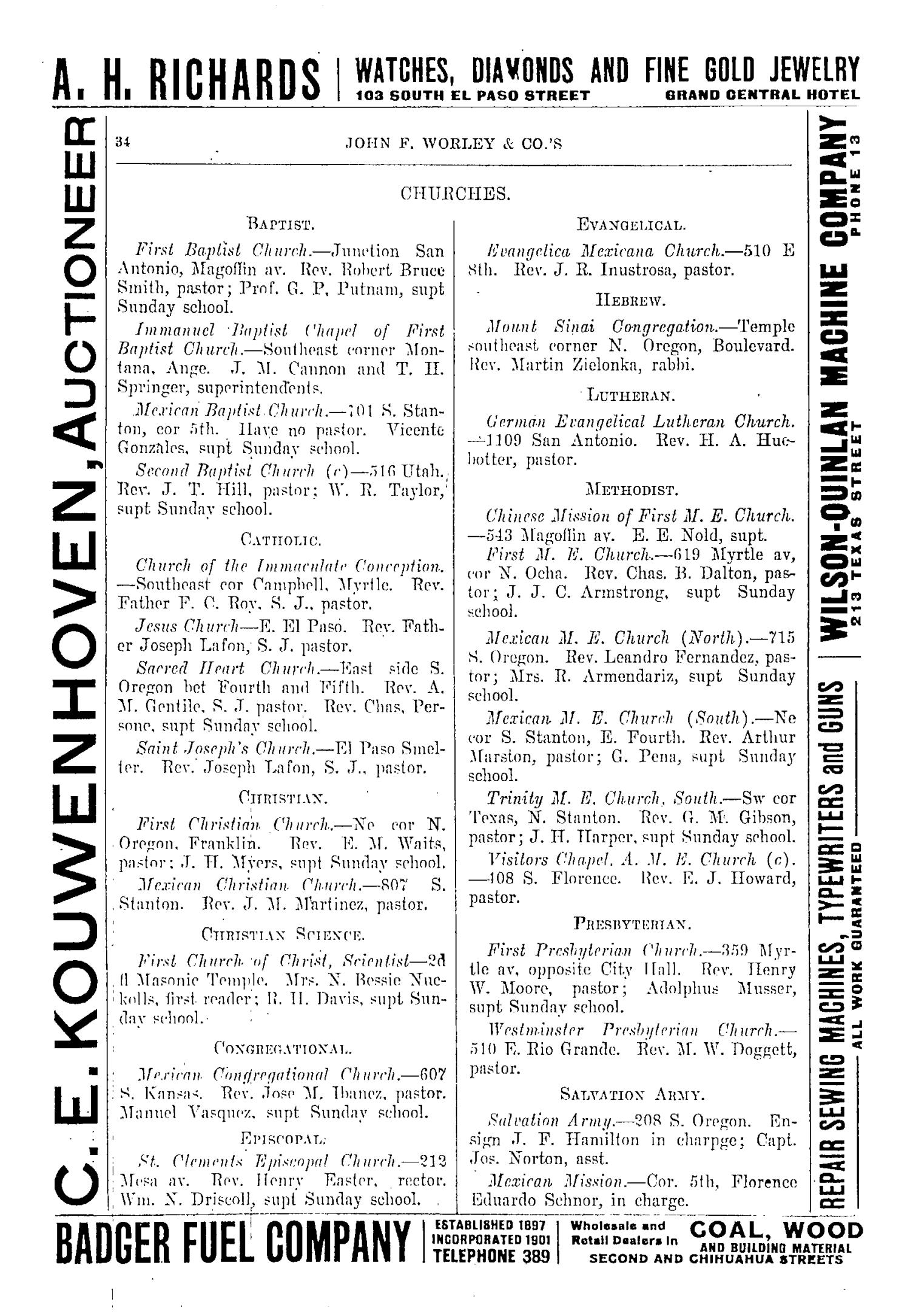 John F. Worley & Co.'s El Paso Directory for 1906                                                                                                      34