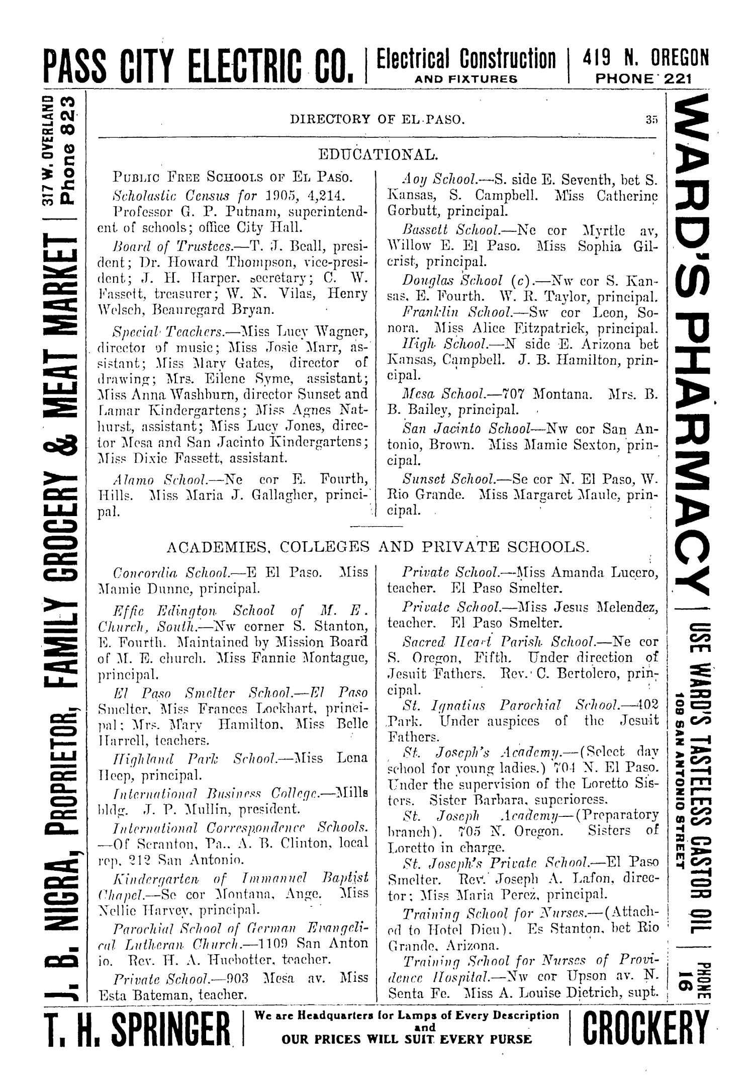 John F. Worley & Co.'s El Paso Directory for 1906                                                                                                      35