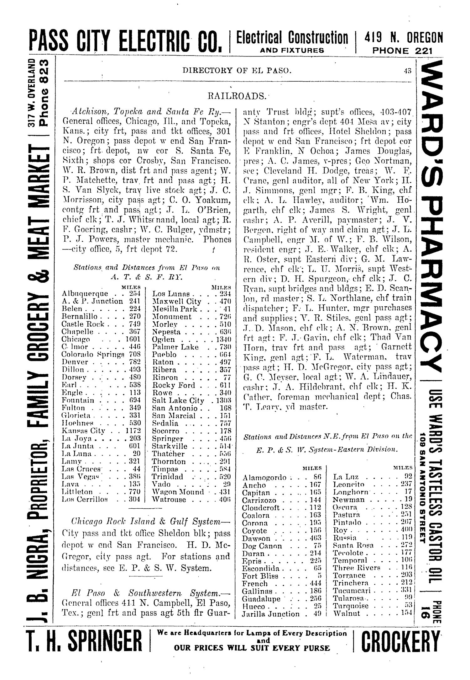 John F. Worley & Co.'s El Paso Directory for 1906                                                                                                      43
