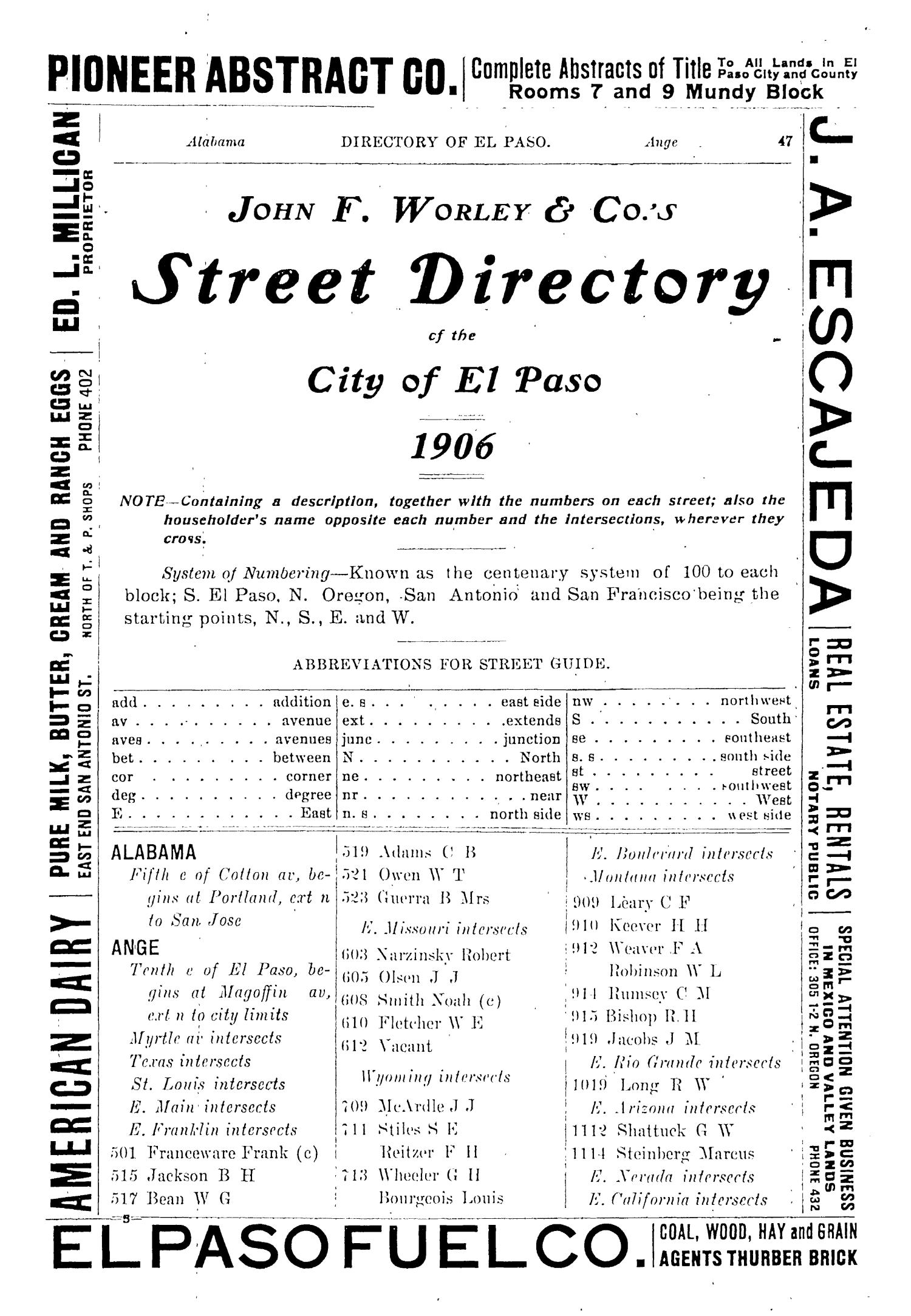 John F. Worley & Co.'s El Paso Directory for 1906                                                                                                      47