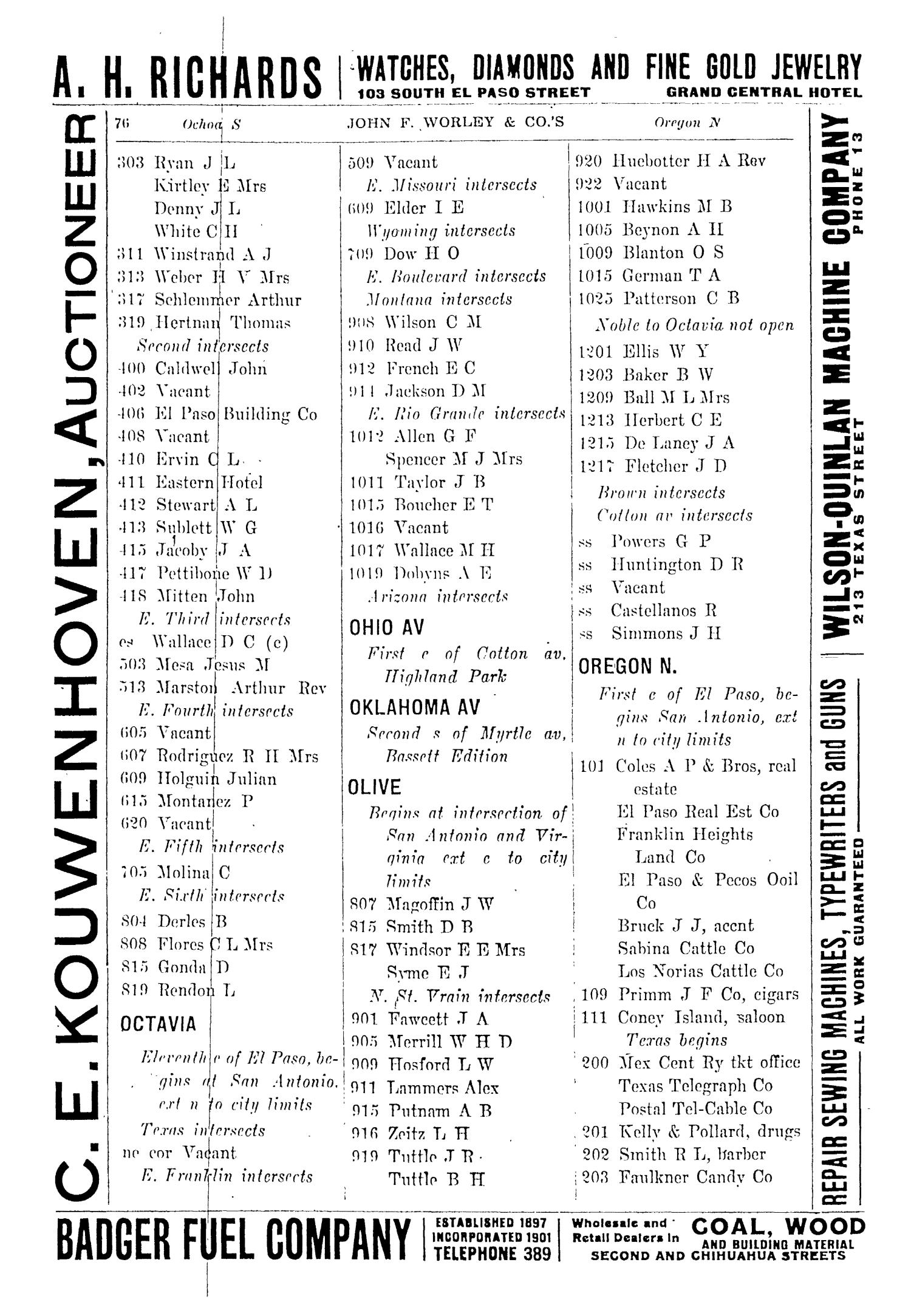John F. Worley & Co.'s El Paso Directory for 1906                                                                                                      76