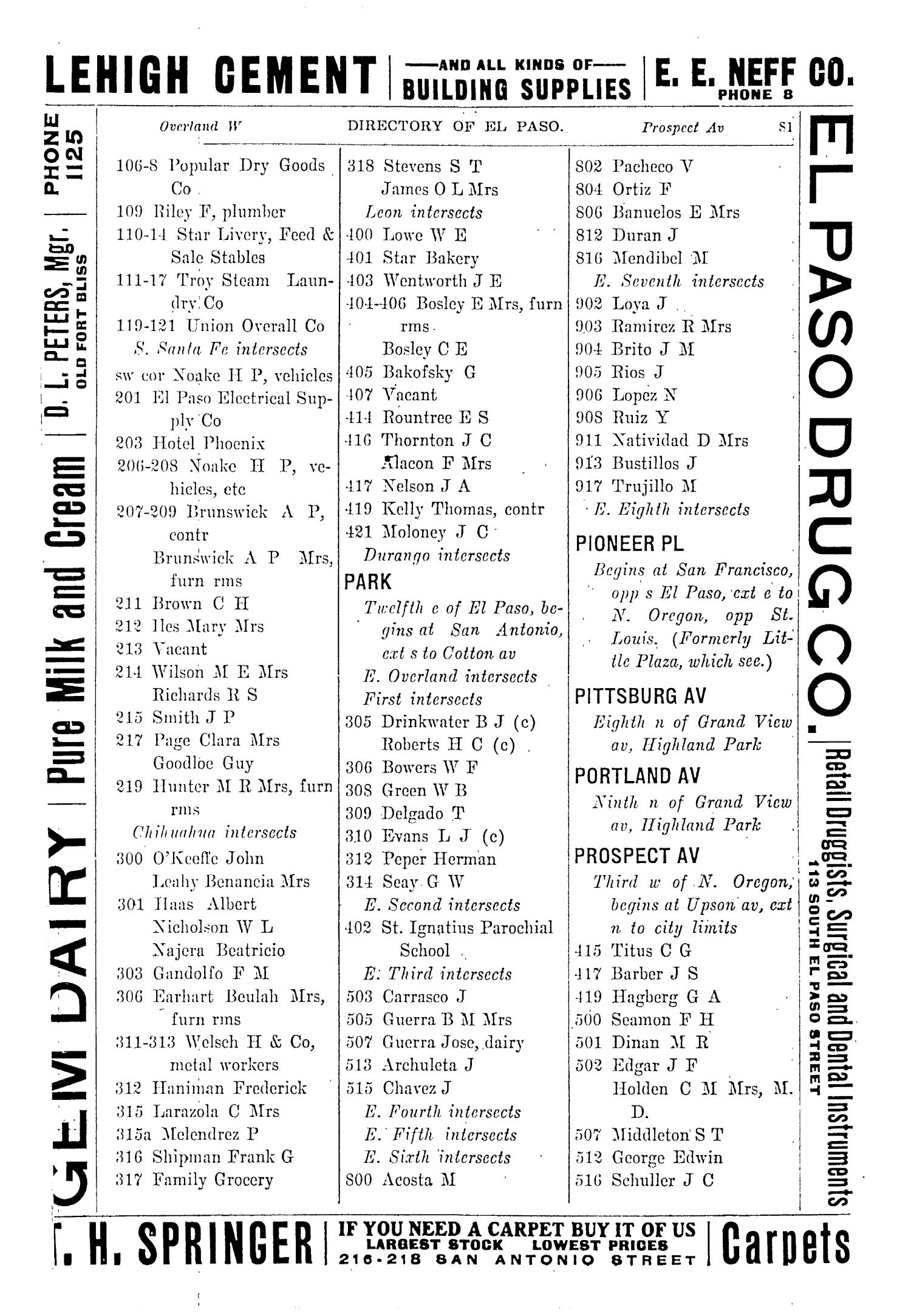 John F. Worley & Co.'s El Paso Directory for 1906                                                                                                      81