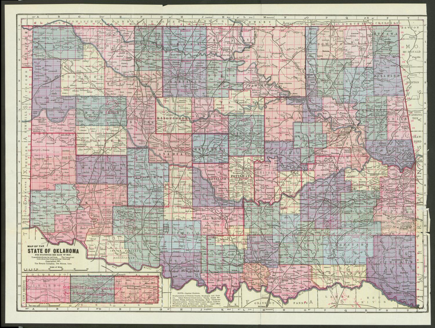 "Map of the State of Oklahoma, Color map of Oklahoma and Indian Territory (the area proposed to become the state of Oklahoma) and surrounding areas to accompany the 1907 census bulletin. The panhandle section of the state is included as an inset in the lower-left corner. Counties are shaded in various colors and red hatch marks and numbers denote townships and Congressional Districts. Towns, bodies of water, geographic features and transportation routes are marked. There is an index on the back of the map containing ""Location of Towns and Cities in Oklahoma According to State Census of 1907 and Other Reliable Sources."","