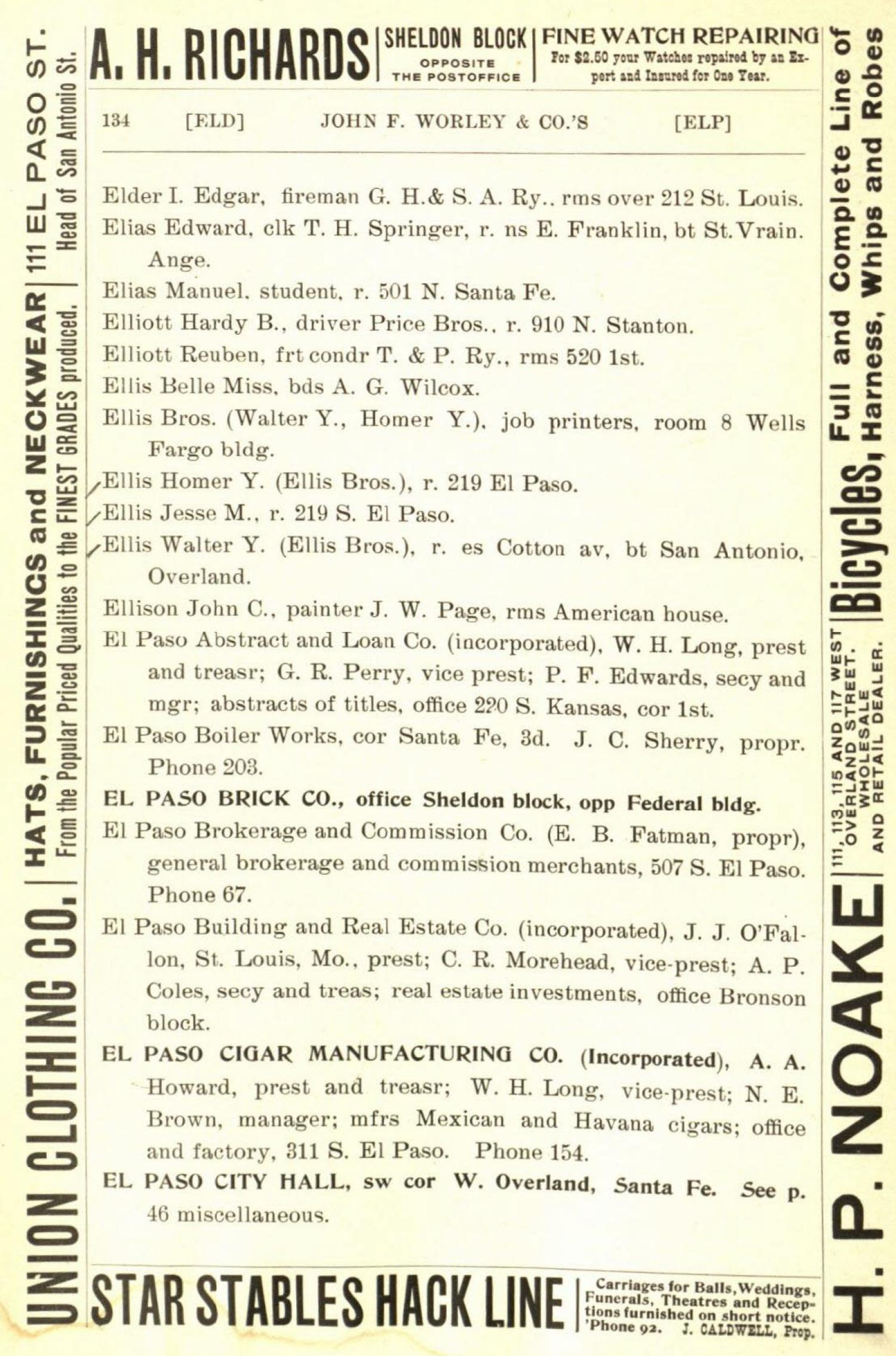 Worley's Directory of City of El Paso, Tex. 1898-1899 - Page 134 - The Portal to Texas History