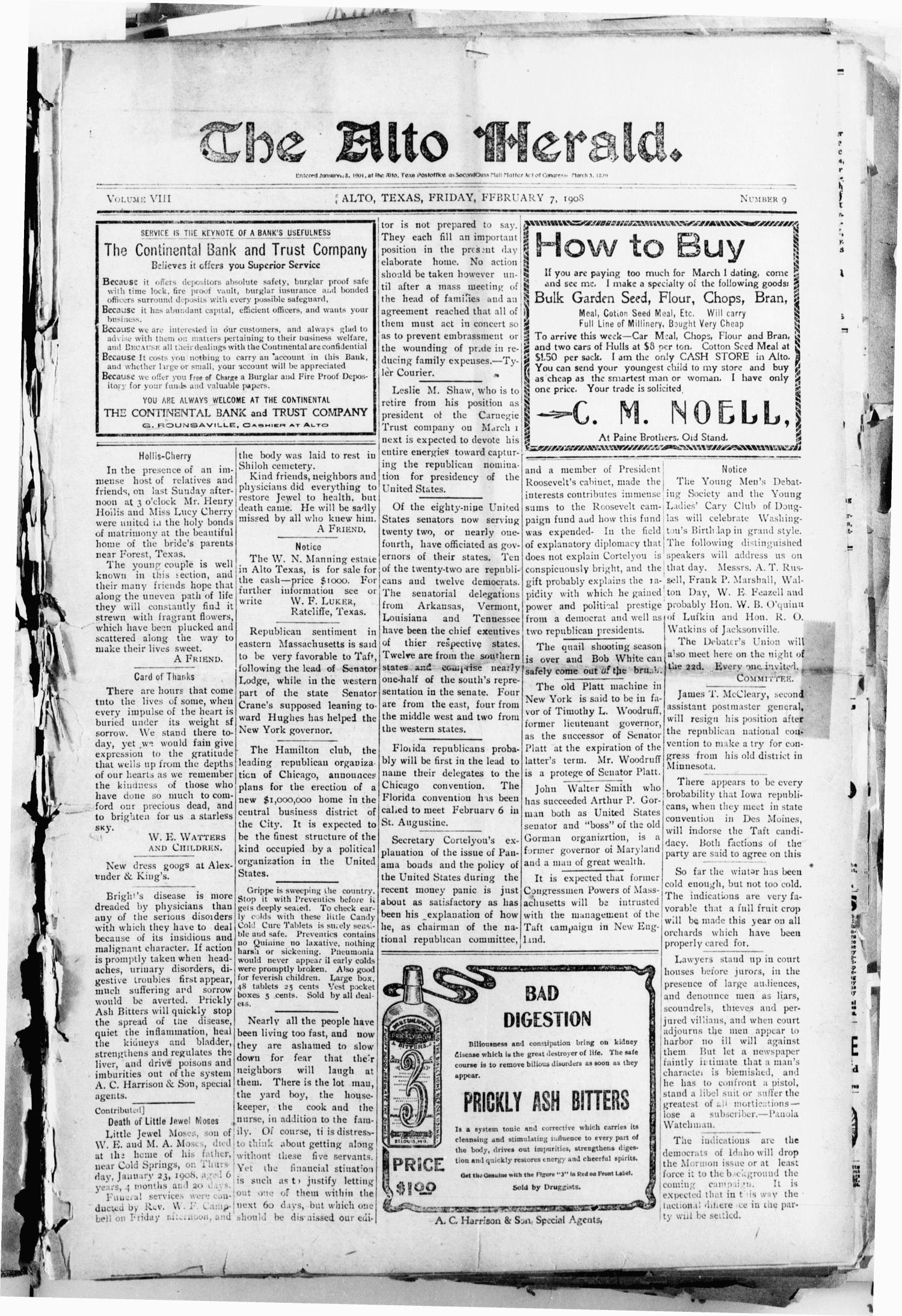 The Alto Herald (Alto, Tex.), Vol. 8, No. 9, Ed. 1 Friday, February 7, 1908                                                                                                      [Sequence #]: 1 of 8