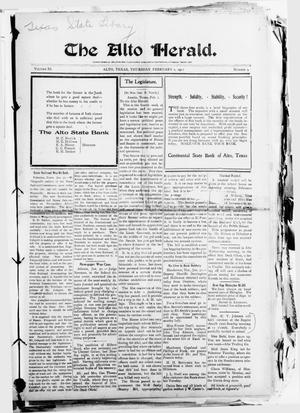 Primary view of object titled 'The Alto Herald (Alto, Tex.), Vol. 11, No. 9, Ed. 1 Thursday, February 2, 1911'.
