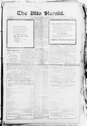 The Alto Herald (Alto, Tex.), Vol. 11, No. 15, Ed. 1 Thursday, March 16, 1911