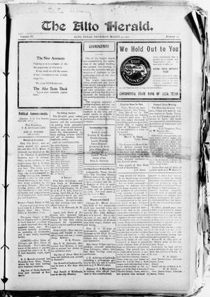The Alto Herald (Alto, Tex.), Vol. 11, No. 17, Ed. 1 Thursday, March 30, 1911