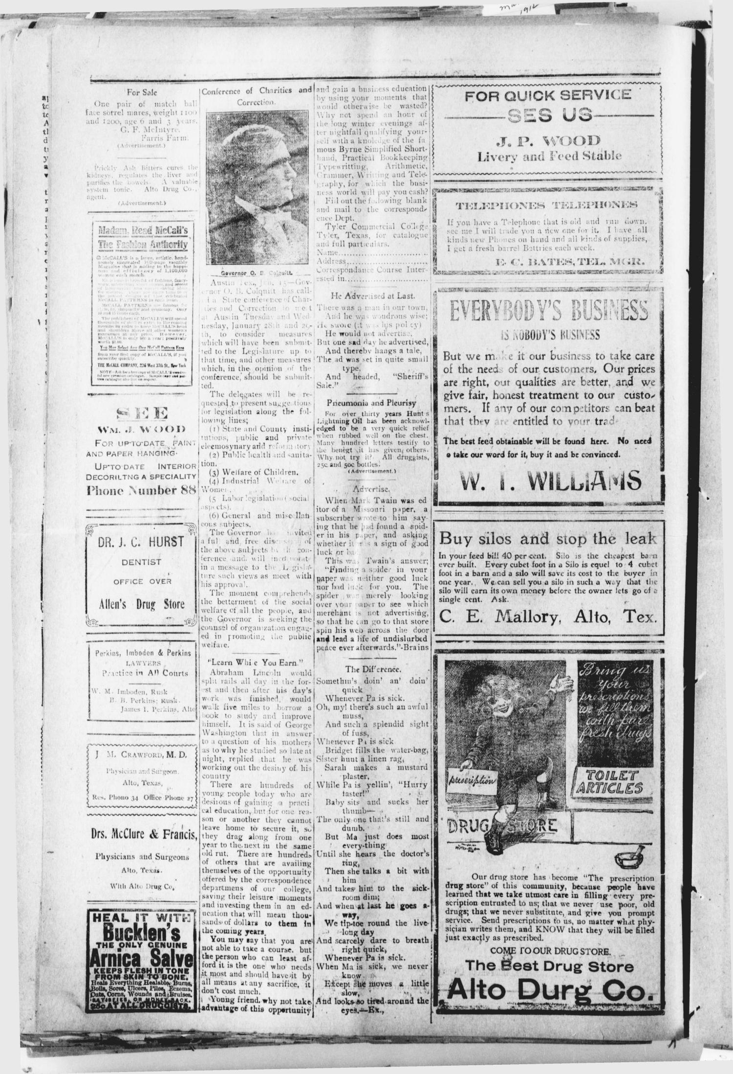 The Alto Herald (Alto, Tex.), Vol. 13, No. 6, Ed. 1 Thursday, January 16, 1913                                                                                                      [Sequence #]: 2 of 8
