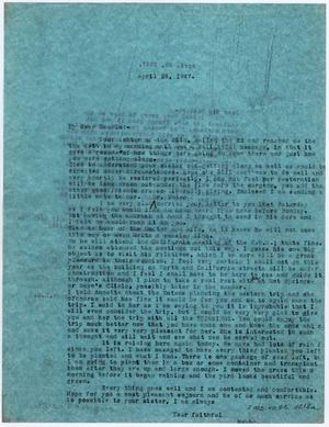 [Two Letters from Dr. Edwin D. Moten to Josephine Bramlette Moten and his sister-in-law,  April 29, 1947]
