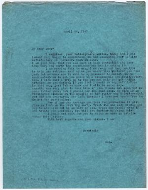 Primary view of object titled '[Letter from Dr. Edwin D. Moten to Don Moten, April 24, 1947]'.