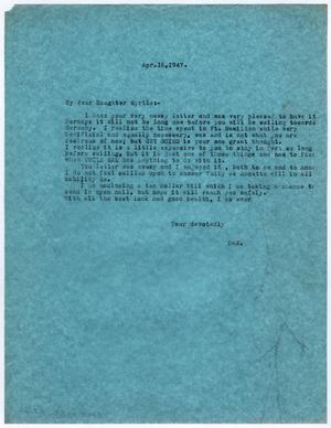 Primary view of object titled '[Letter from Dr. Edwin D. Moten to Myrtle Moten Dabney, April 16, 1947]'.