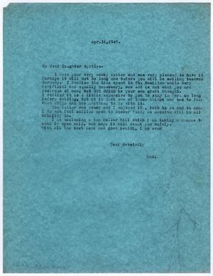 [Letter from Dr. Edwin D. Moten to Myrtle Moten Dabney, April 16, 1947]