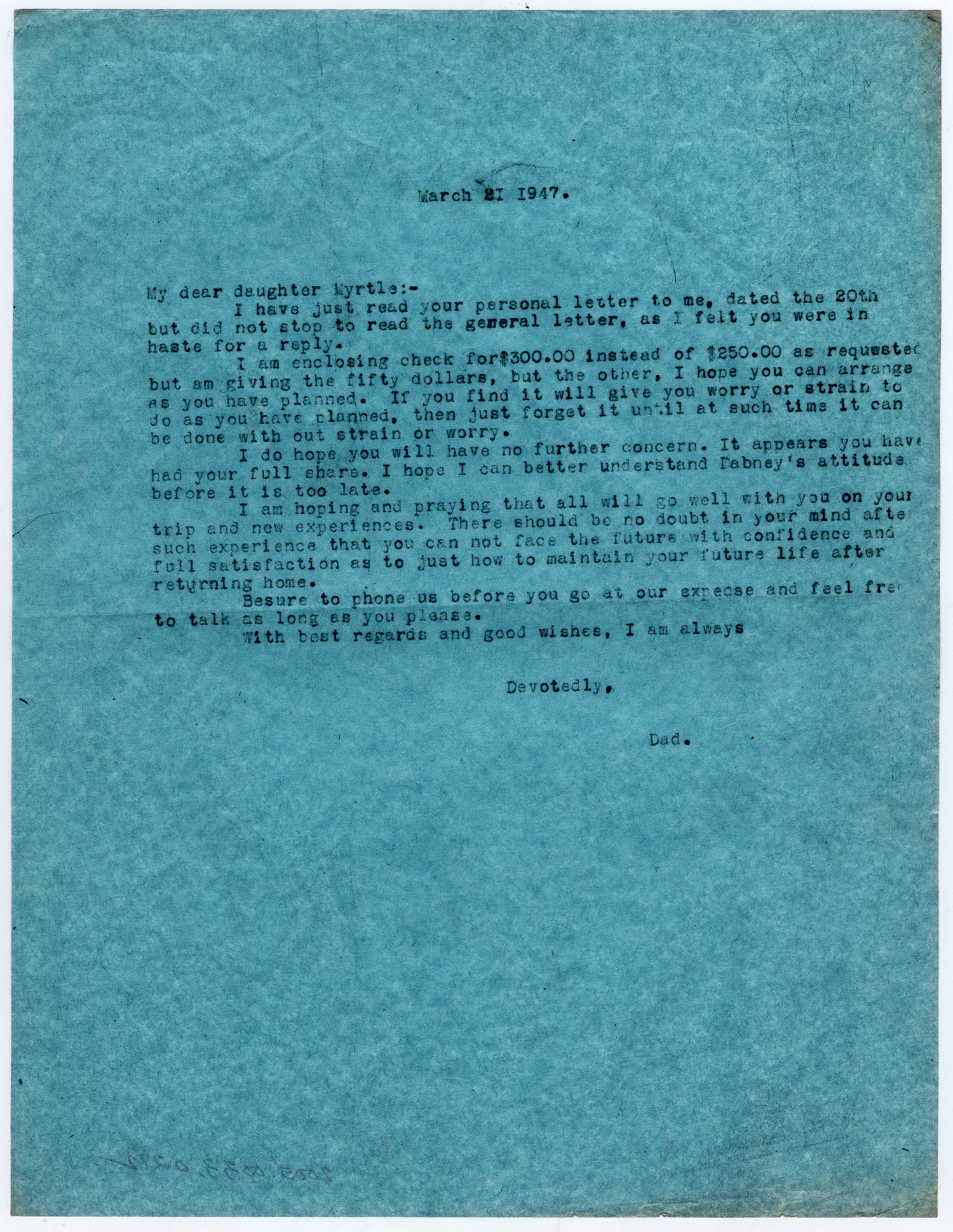 [Letter from Dr. Edwin D. Moten to Myrtle Moten Dabney, March 21, 1947]                                                                                                      [Sequence #]: 1 of 1