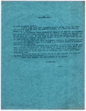 Primary view of object titled '[Letter from Dr. Edwin D. Moten to Myrtle Moten Dabney, March 21, 1947]'.
