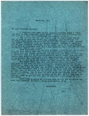 [Letter from Dr. Edwin D. Moten to Myrtle Moten Dabney, March 16, 1947]