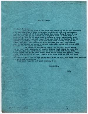Primary view of object titled '[Letter from Dr. Edwin D. Moten to Myrtle Moten Dabney, March 4, 1947]'.