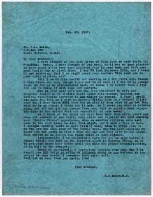 [Letter from Dr. Edwin D. Moten to Pierce I. Moten, February 20, 1947]
