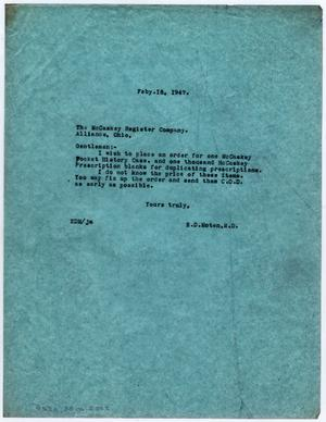 [Letter from Dr. Edwin D. Moten to the McCaskey Register Company, February 18, 1947]