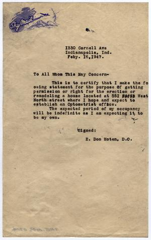 Primary view of object titled '[Letter from E. Don Moten to Whom It May Concern, on February 16, 1947]'.
