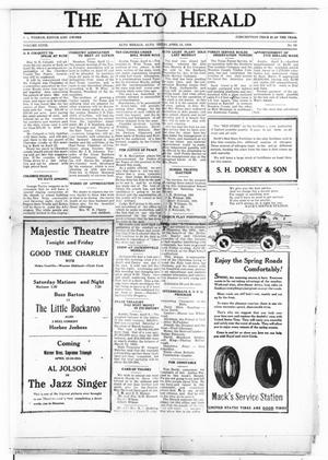 Primary view of object titled 'The Alto Herald (Alto, Tex.), Vol. 27, No. 50, Ed. 1 Thursday, April 12, 1928'.