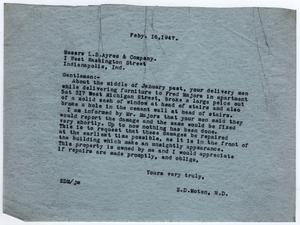 [Letter from Dr. Edwin D. Moten to L.S. Ayres & Company, February 16, 1947]