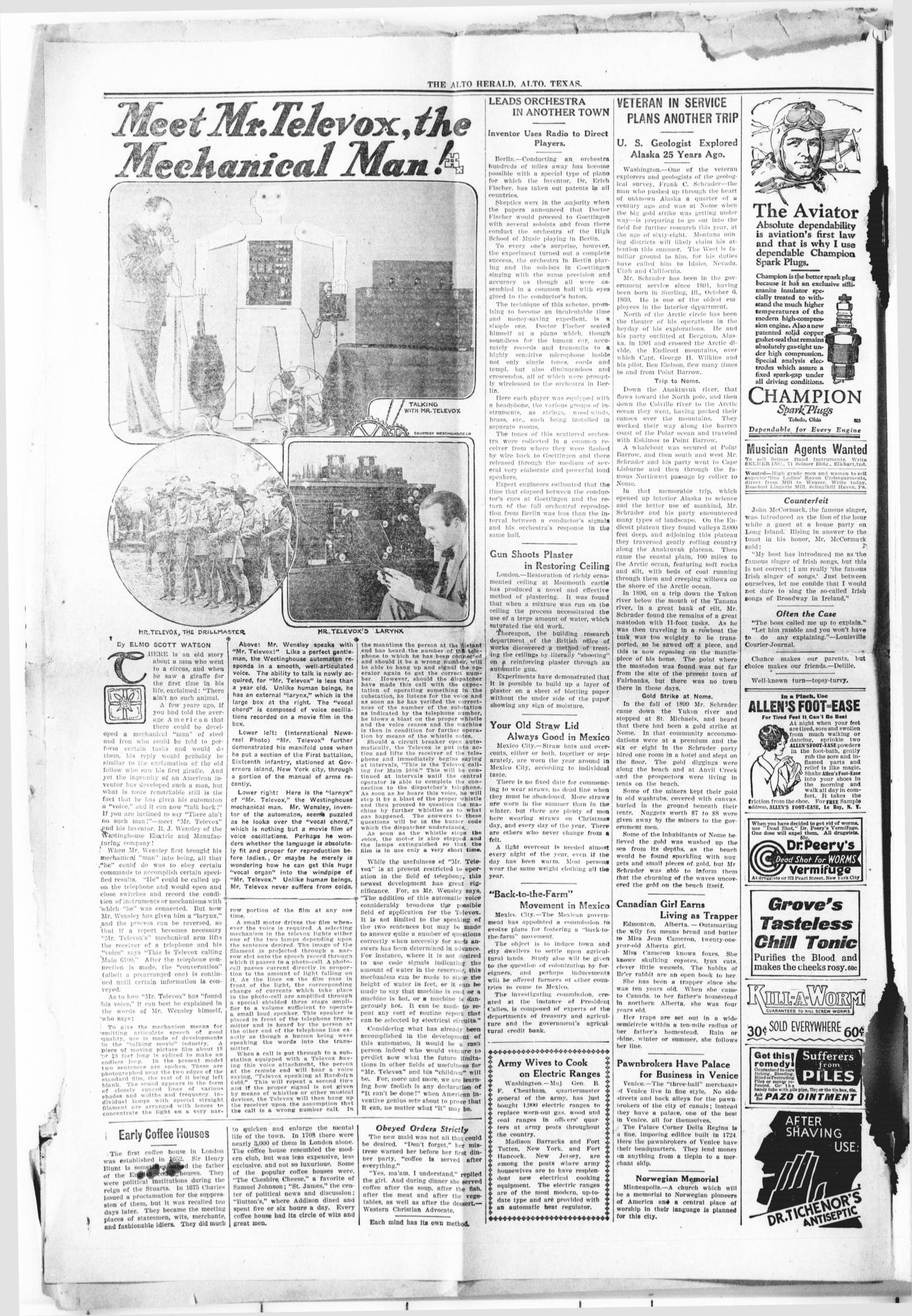 The Alto Herald (Alto, Tex.), Vol. 27, Ed. 1 Thursday, July 19, 1928                                                                                                      [Sequence #]: 2 of 5