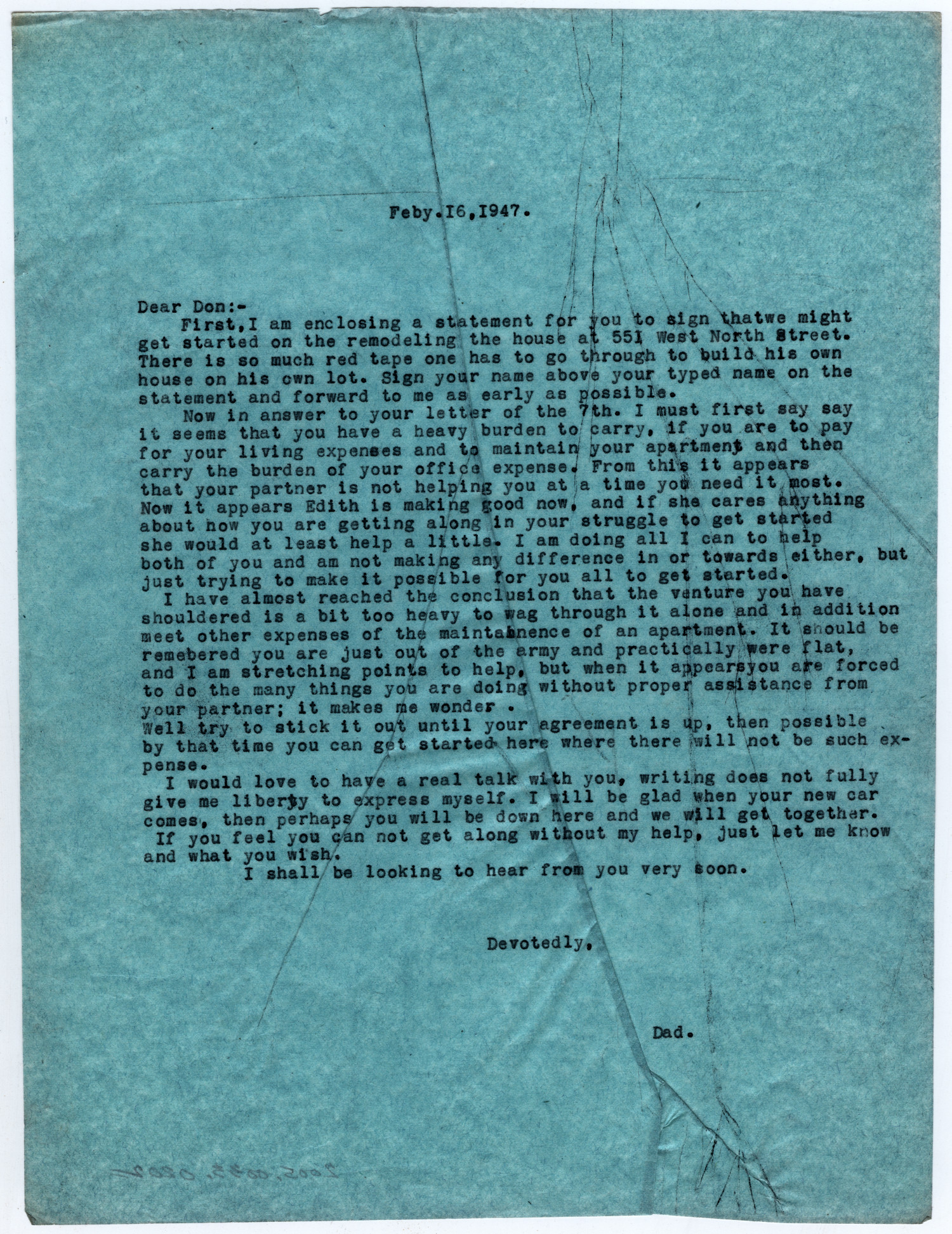 [Letter from Dr. Edwin D. Moten to Don Moten, February 16, 1947]                                                                                                      [Sequence #]: 1 of 1