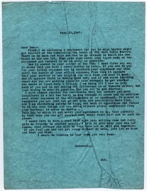 [Letter from Dr. Edwin D. Moten to Don Moten, February 16, 1947]