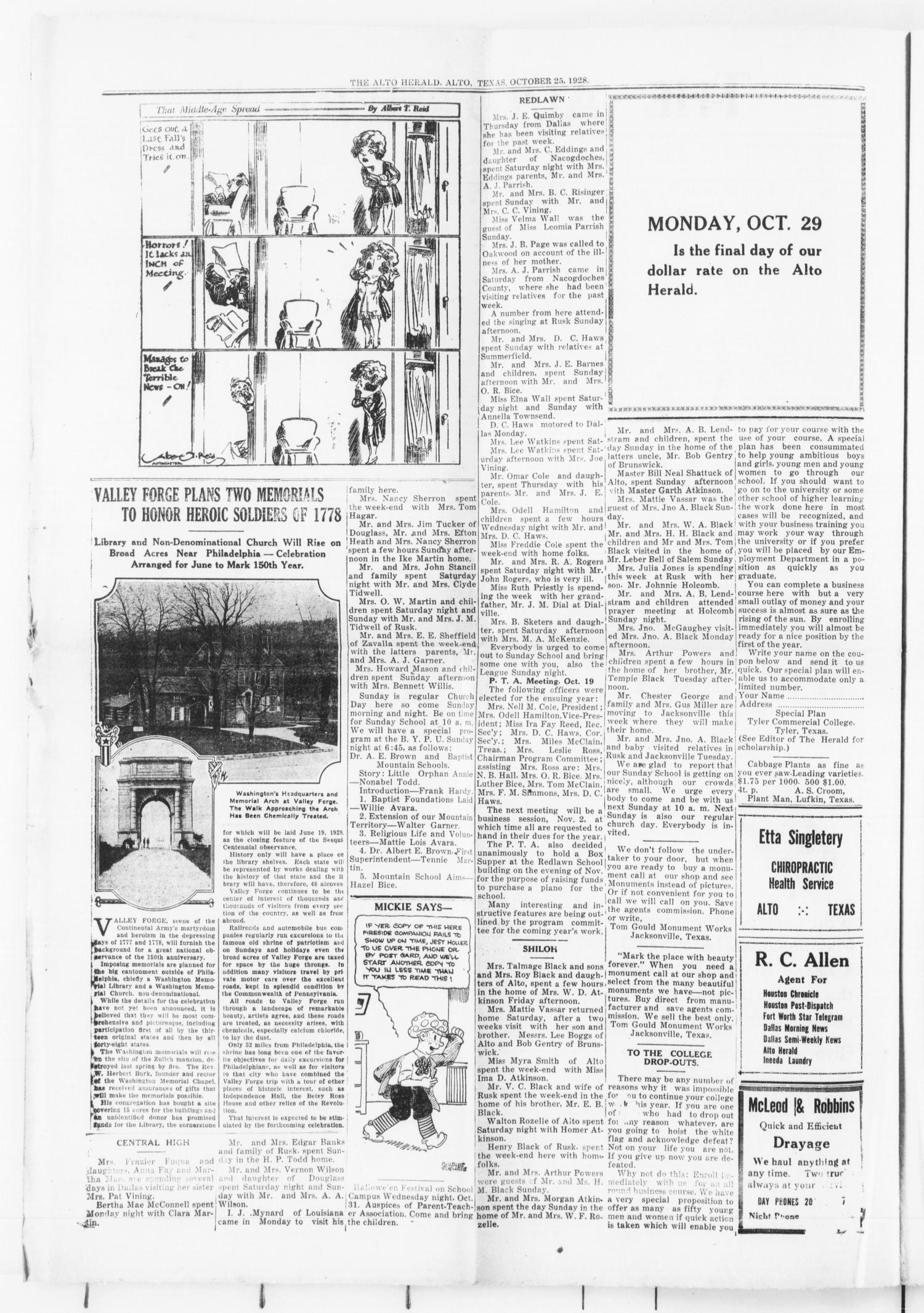 The Alto Herald (Alto, Tex.), Vol. 28, No. 16, Ed. 1 Thursday, October 25, 1928                                                                                                      [Sequence #]: 2 of 4