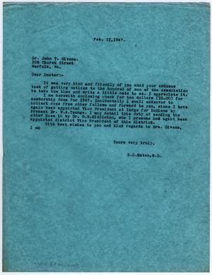 Primary view of object titled '[Letter from Dr. Edwin D. Moten to Dr. John T. Givens, February 11, 1947]'.