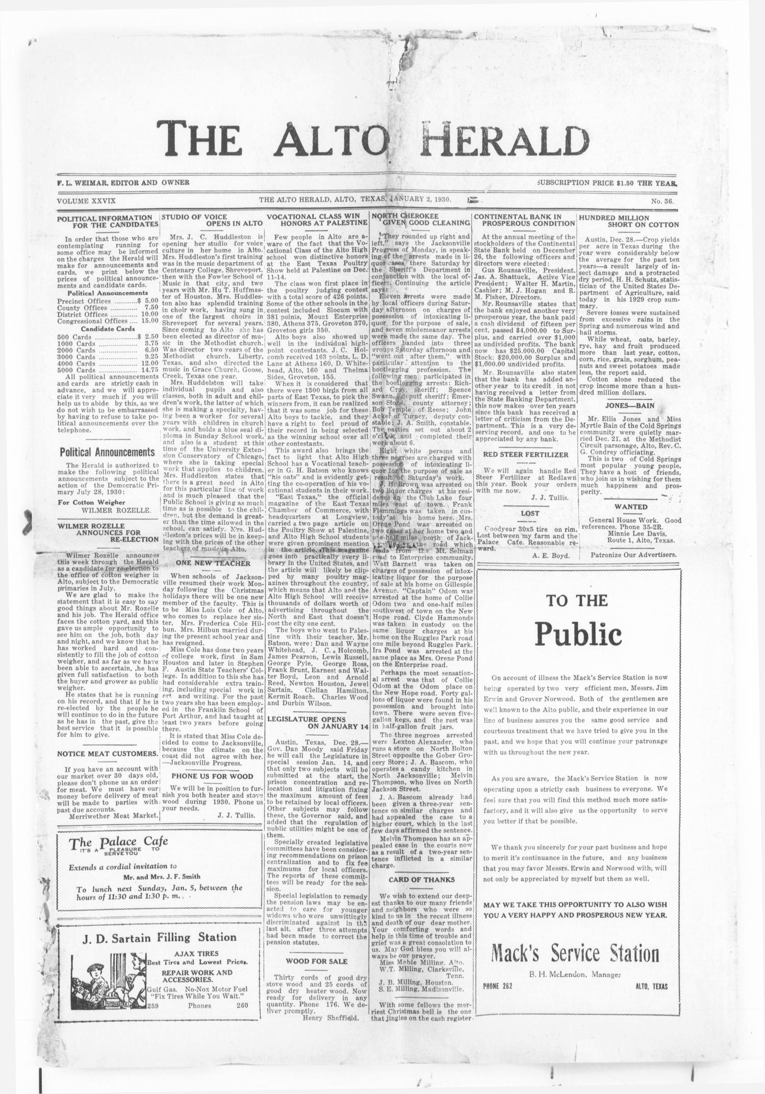 The Alto Herald (Alto, Tex.), Vol. 29, No. 36, Ed. 1 Thursday, January 2, 1930                                                                                                      [Sequence #]: 1 of 8