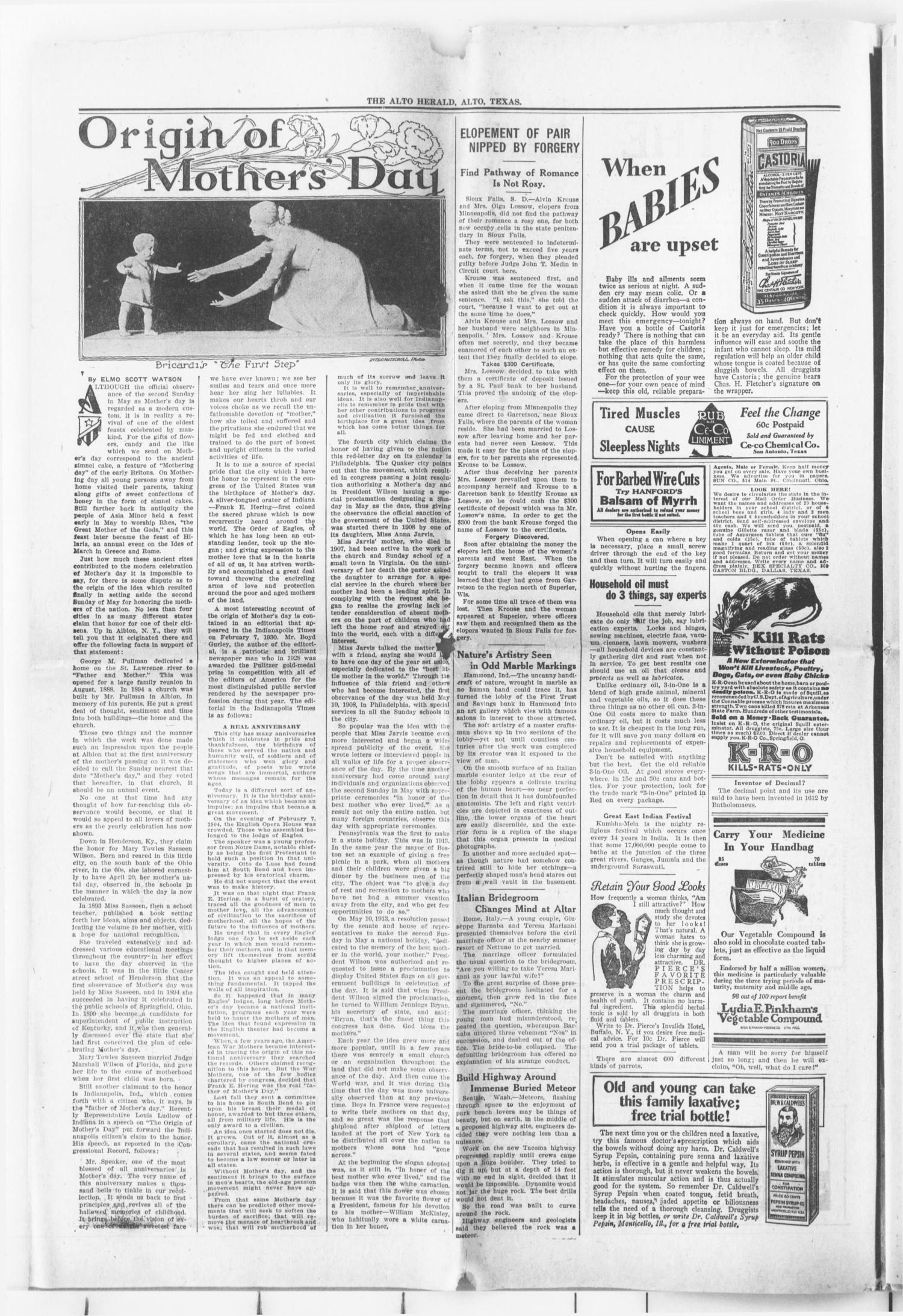 The Alto Herald (Alto, Tex.), Vol. 30, No. 1, Ed. 1 Thursday, May 1, 1930                                                                                                      [Sequence #]: 2 of 10
