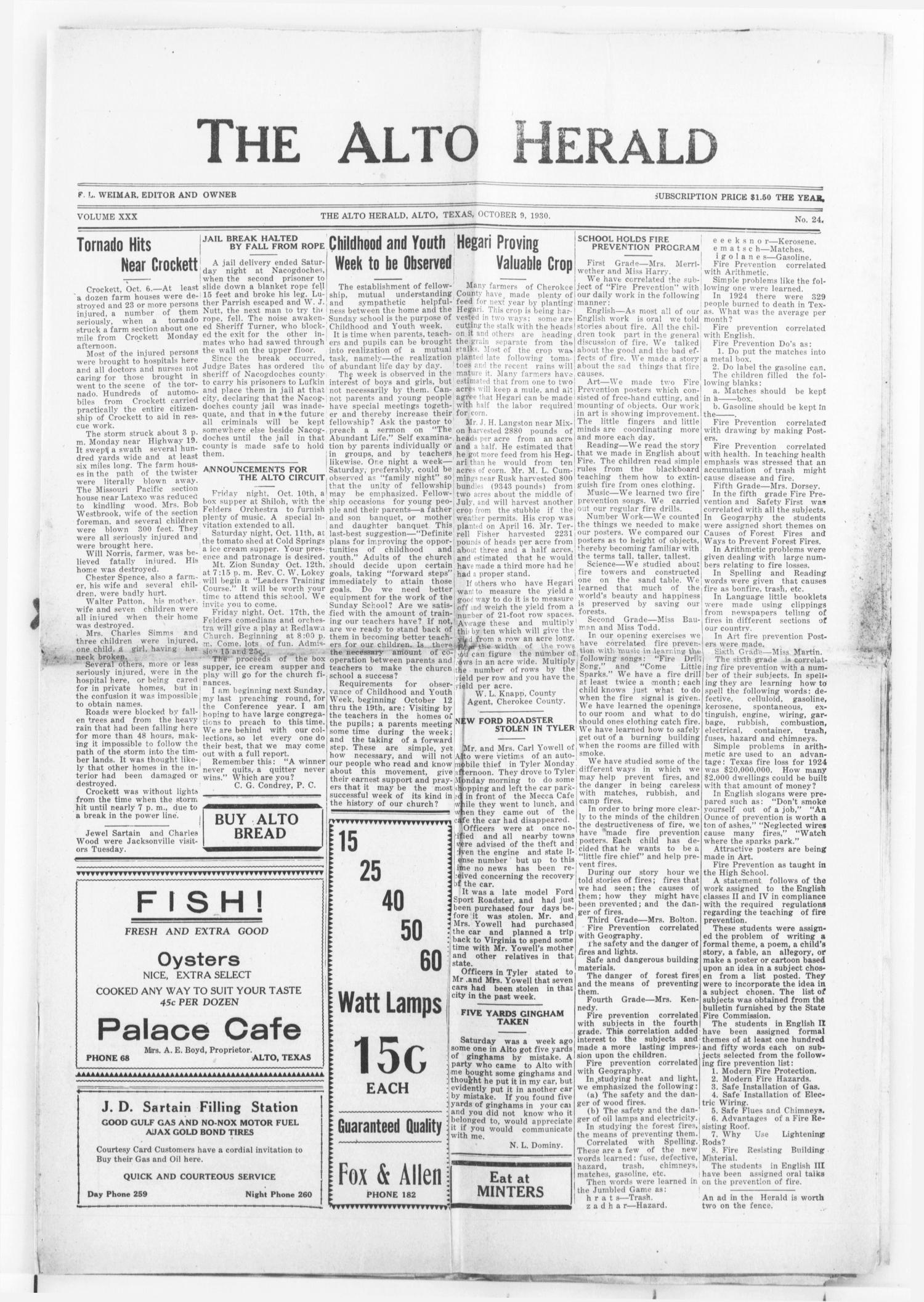 The Alto Herald (Alto, Tex.), Vol. 30, No. 24, Ed. 1 Thursday, October 9, 1930                                                                                                      [Sequence #]: 1 of 10