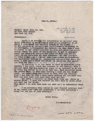 Primary view of object titled '[Two Letters from Dr. Edwin D. Moten to William H. Wise & Co., October 1 & 11, 1946]'.