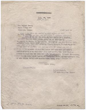 Primary view of object titled '[Letter from Dr. Edwin D. Moten to Walter Davis, July 26, 1946]'.