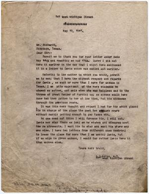 [Letter from Dr. Edwin D. Moten to Mr. Rinhart, May 15, 1946]