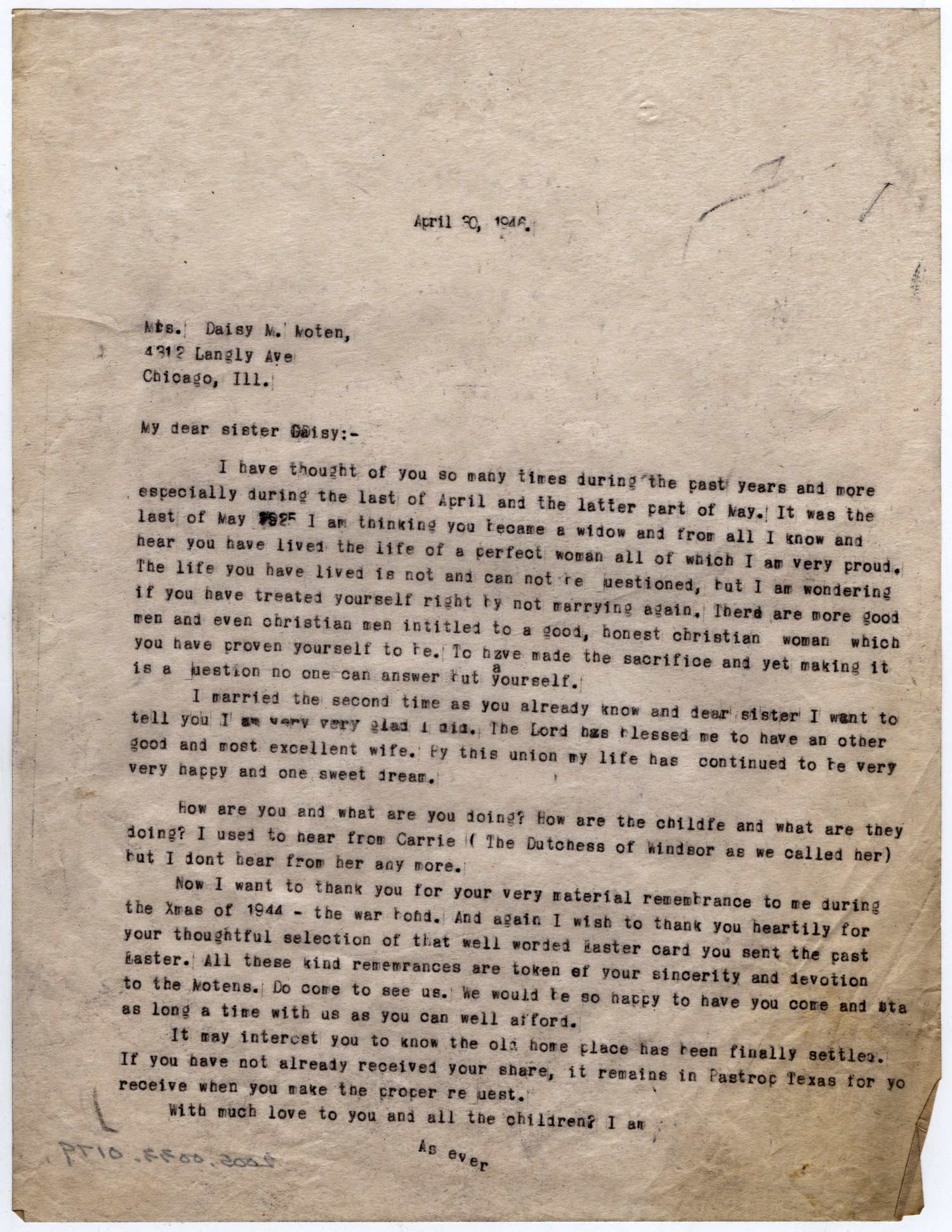 [Letter from Dr. Edwin D. Moten to Daisy M. Moten, April 30, 1946]                                                                                                      [Sequence #]: 1 of 1