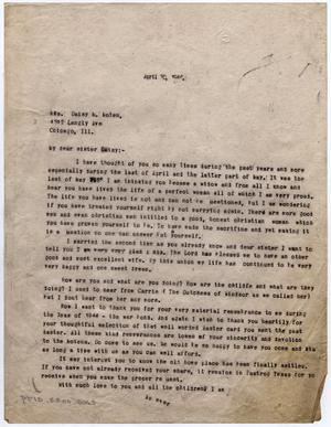 Primary view of object titled '[Letter from Dr. Edwin D. Moten to Daisy M. Moten, April 30, 1946]'.