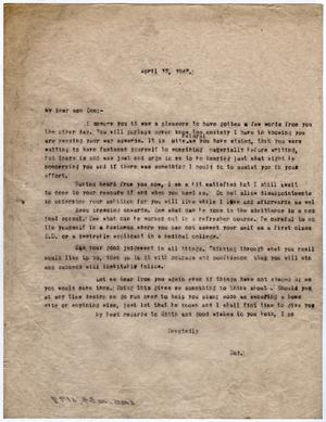 Primary view of object titled '[Letter from Dr. Edwin D. Moten to Don Moten, April 12, 1946]'.
