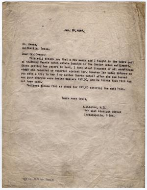 Primary view of object titled '[Letter from Dr. Edwin D. Moten to Dr. Owens, January 21, 1946]'.