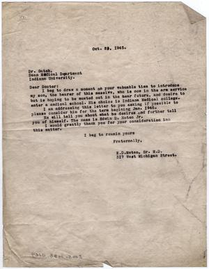 [Letter from Dr. Edwin D. Moten to Dr. Gatch, October 25, 1945]