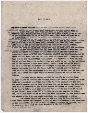 Primary view of object titled '[Letter from Dr. Edwin D. Moten to Myrtle Moten Dabney, November 12, 1943]'.