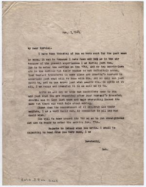 Primary view of object titled '[Letter from Dr. Edwin D. Moten to Myrtle Moten Dabney, November 3, 1943]'.