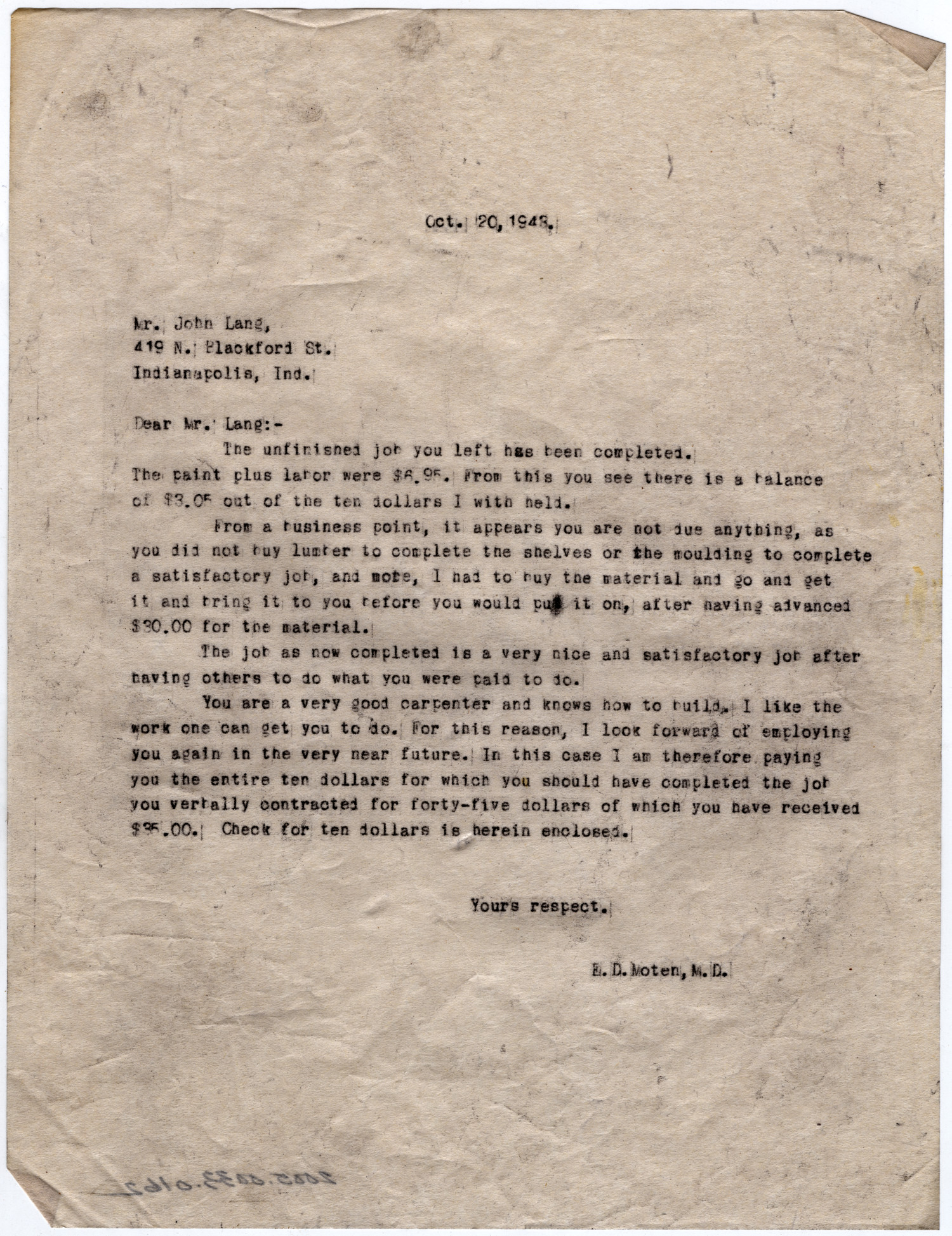 [Letter from Dr. Edwin D. Moten to John Lang, October 20, 1943]                                                                                                      [Sequence #]: 1 of 1