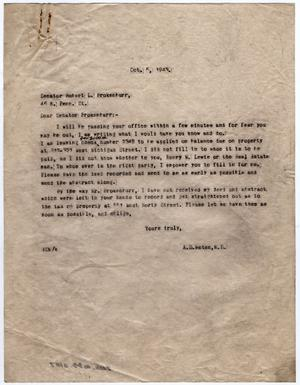 Primary view of object titled '[Letter from Dr. Edwin D. Moten to Senator R. L. Brokenburr, October 5, 1943]'.