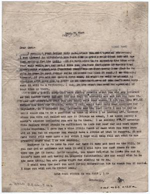 Primary view of object titled '[Two Letters from Dr. Edwin D. Moten to Don Moten, September 28 & October 2, 1943]'.
