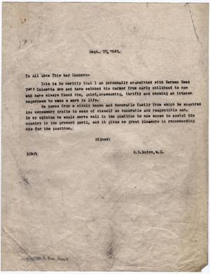 Primary view of object titled '[Letter from Dr. Edwin D. Moten recommending Herman Read, September 22, 1943]'.